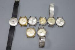 Eight assorted gentleman's wrist watches including Buler, Elgin & Rotary.