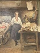 Mostyn, oil on canvas, Fishmonger's Stall, signed, 45 x 35cm