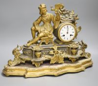 A French gilt metal figural mantel clock and base, overall height 34cm