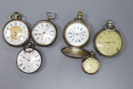 A silver pocket watch, retailed by James Wadsworth and five other assorted white metal pocket/fob