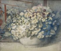 Modern British, watercolour, Still life of spring flowers in a bowl, 35 x 42.5cm