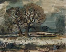Rowland Suddaby (1912-1973), watercolour, Trees in a landscape, Studio stamp, 32 x 40cm studio
