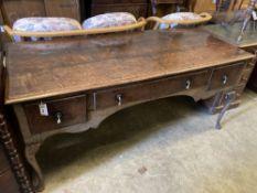 A Queen Anne-style oak side table, width 168cm, depth 74cm, height 76cm