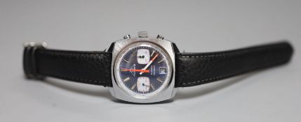 A gentleman's 1970's stainless steel Mondaine chronograph blue dial manual wind wrist watch, in