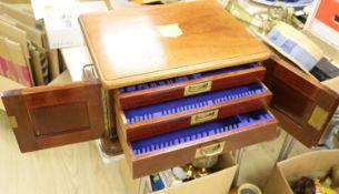A Victorian mahogany cutlery box (no contents)