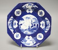 An 18th century Bow octagonal plate painted with landscapes or flowers in circular or fan-shaped