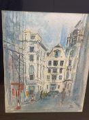 Nina Carroll (1932-1990), mixed media on paper, 'Regent Street', London, signed, 49 x 38cm