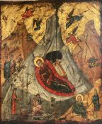 A 19th century tempera on panel icon, Virgin and child beneath a mountain with attendant figures, 36