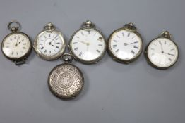 One silver and five continental white metal fob watches(a.f.).