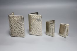 A modern silver cigarette case by Links of London, 1997, 93mm and three other card cases? by Links