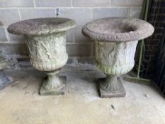 A near pair of reconstituted stone campana garden urns, larger 66cm diameter, height 85cm