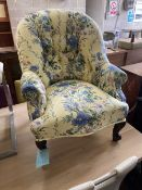 A Victorian upholstered sewing/nursing chair, width 66cm, depth 60cm, height 78cm