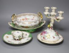 A group of Dresden and flower painted porcelain
