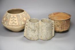 Two Indus Valley pottery vessels, tallest 13.5cm and a stone two section vessel