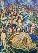 Modern British, oil on canvas laid on board, Nudes in a stylised landscape, signed, 122 x 89cm