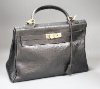 A Hermes Sac a depeches (Kelly) bag, ostrich skin, circa 1940's, (undated - prior to 1945)