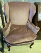 A Queen Anne style upholstered armchair, width 82cm, depth 60cm, height 100cm