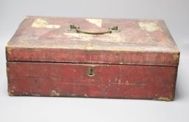 A Wickwar & Co red leather despatch box, length 45cm