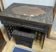 A Chinese carved hongmu folding table, width 83cm depth 56cm height 67cm, and a similar stool/stand,