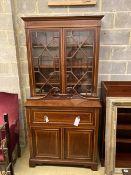 An Edwardian mahogany W&G (?) inlaid secretaire bookcase, width 107cm, depth 54cm, height 240cm