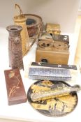 A group of Japanese lacquer wares, a portable smoking set and three basket weave ikebana (11)