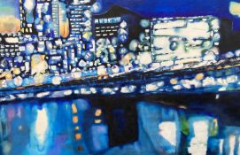 Sharon Rosa Seymour (Contemporary), oil on canvas, Waterside buildings at night, 102 x 168cm,
