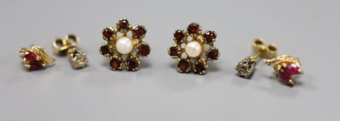 A pair of 9ct and diamond stud earrings (stones approx. 0.05ct each), and two other pairs of stud