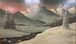 H.H. Braunston, oil on board, Alpine landscape, signed, 44 x 75cm