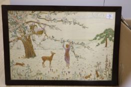 Dorothea Muston Adams (1899-1963), needlework panel, 'The Beginning', label verso, 46 x 68cm