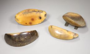 Four rhino nails, one silver-mounted