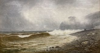 Frederick William Pike, oil on canvas, Waves breaking on the shore with shipping in the distance,