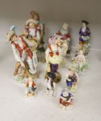 A Derby tailor's wife group and twelve Continental or Staffs porcelain figures, tallest 20cm