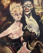 German School, oil on canvas, Show girl and gentleman with clown face, indistinctly signed, 95 x