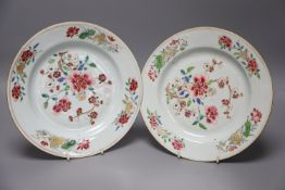 A pair of Chinese Famille Rose plates, Qianlong period