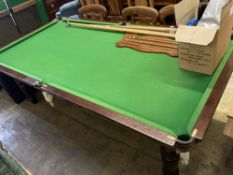 An Edwardian mahogany dining / snooker table with five section removable top and accessories, length