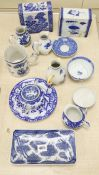An 18th century Chinese export blue and white mug, 10.5cm, two porcelain pillows and sundry ceramics