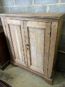 A Victorian pine two door cabinet, width 109cm, depth 37cm, height 127cm