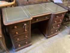 A Victorian mahogany kneehole desk, width 122cm, depth 54cm, height 74cmCONDITION: This is one solid