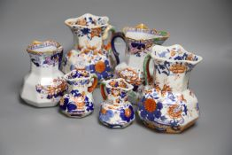 Six various 19th century Ironstone jugsCONDITION: One of the tallest of these jugs glue repaired