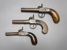 A Wilson of London box lock percussion cap pistol and two others
