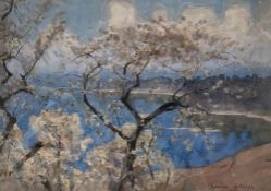 Adrian Stokes (1854-1935), watercolour, 'Spring by Lake Leman', signed, label verso, 24 x 34cm