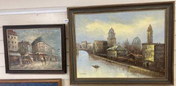 Burnett, oil on canvas, Paris street scene, signed, 30 x 40cm