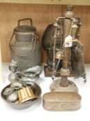 Assorted metalware including a copper tobacco box, a miniature jelly mould, etc