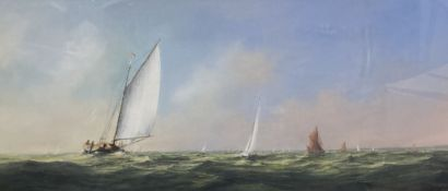 Christine Slade (b. 1943), watercolour and gouache, racing yachts and other boats at sea, signed '