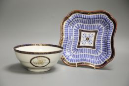 An 18th century Worcester square shaped dish with the Music pattern, 24cm, and a Worcester Flight