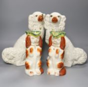 Two pairs of 19th century Staffordshire King Charles Spaniels, height 31cm
