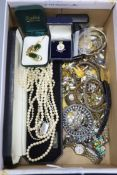 A collection of silver and paste-set costume jewellery and wristwatches, to include an attractive