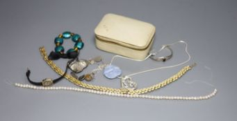 A lady's 9ct gold manual wind wrist watch and a small quantity of jewellery including white metal