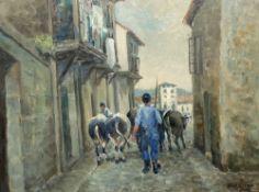 D. H. Smith, oil on board, Cow herd in an Italian street, signed, 34 x 44cm