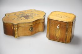 A marquetry serpentine work box, length 23.5cm, and an octagonal tea caddy